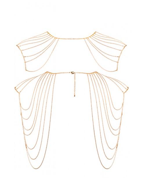 Magnifique · Metallic chain shoulders & back jewelry