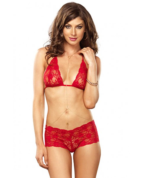 Lace Bra, Thong & Body Chain Red S/M