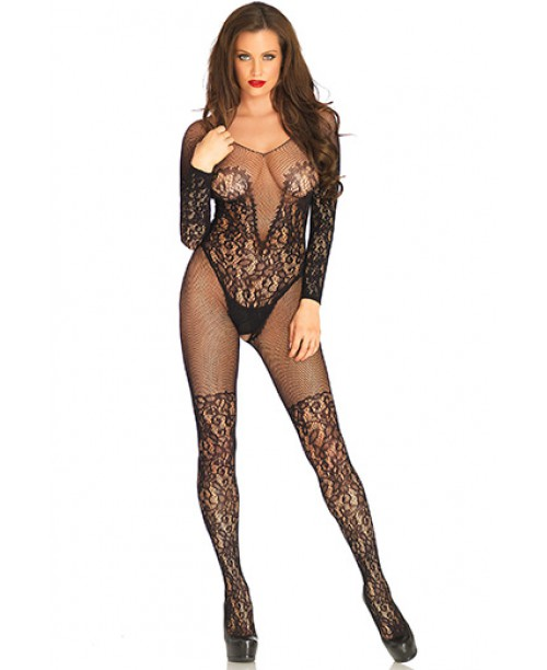 Vine Lace And Net Bodystocking Black O/S