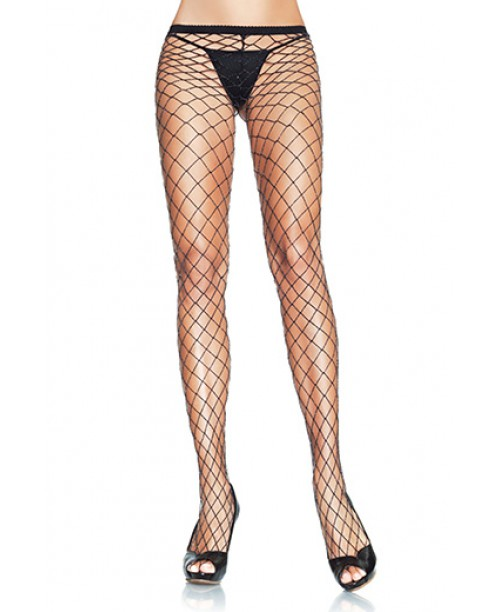 Lurex Fishnet Pantyhose Black & Silver O/S