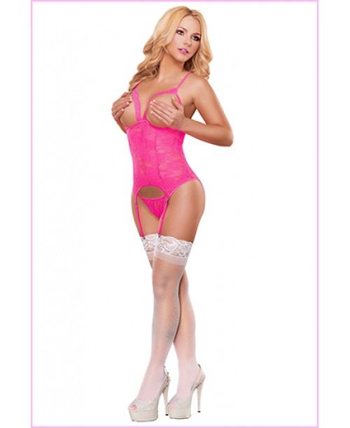 Cupless Merry  Widow Neon Pink Queen Size